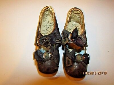 ANTIQUE  OLD LEATHER  CHILD'S GIRL'S SHOES C1890's VICTORIAN