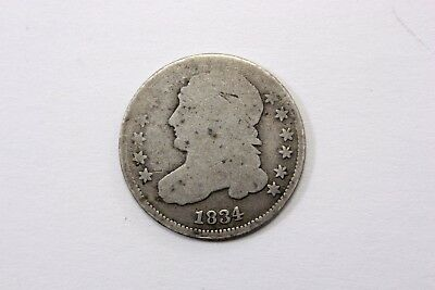 One United States   1834 Bust Dime  In Worn  Average Circulated Condition