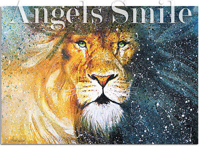 """ORIGINAL HAND PAINTING ART PICTURE WATERCOLOR Wild Animals """"Lion""""  A4 size"""