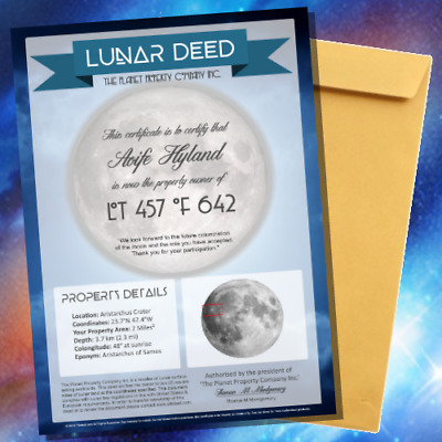 MOON LUNAR LAND - Own Land on the Moon - Certificate Perfect Novelty Gift