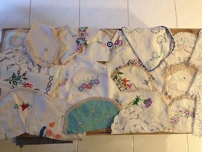 BULK VINTAGE LOT OF 26 LARGE hand made embroidered lace assorted DOILIES Linens