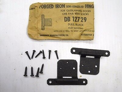 Qty 2 Pair Vintage NOS McKinney Forged Iron Semi Concealed Hinges DB12729 Black