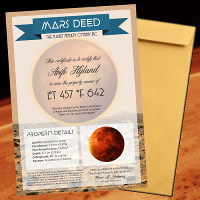 MARS LAND - Own Land Property on Mars - Certificate Perfect Novelty Gift