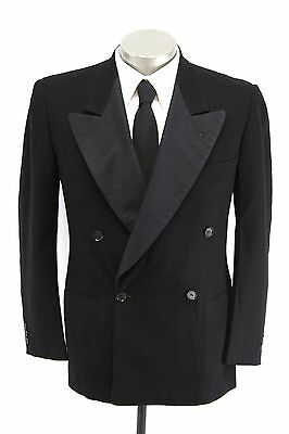 vintage 40s mens black TUXEDO JACKET tux formal satin wool double breasted 38 R