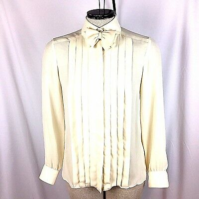 St John Womens Blouse Size Small 2 Vintage Ivory Georgette Pussy Bow Shirt Top