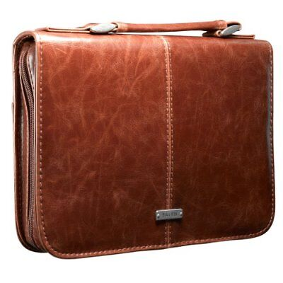 """Classic Bible / Book Cover w/ """"Faith"""" Badge Handle (Large/Brown) Pen Loop Inside"""