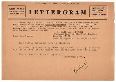 Harry Houdini - Typed Letter Signed - While Performing An Infamous Great Escape