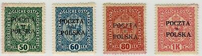 Poland 1918 / 1919; Kraków issue; set of 4 MH stamps; Fi 41-43  & 45  (bl)