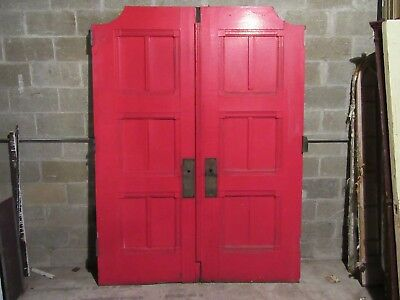 ANTIQUE OAK DOUBLE ENTRANCE FRENCH DOORS  ~ 67 x 89 ~  SET 2 OF 3  ~ SALVAGE