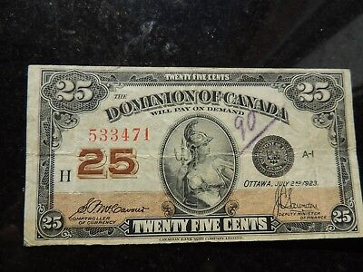 1923 Dominion Of Canada Shinplaster 0.25 Twenty Five Mccavour Saunders 533471