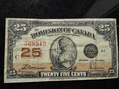 1923 Dominion Of Canada Shinplaster 0.25 Twenty Five Mccavour Saunders 508518