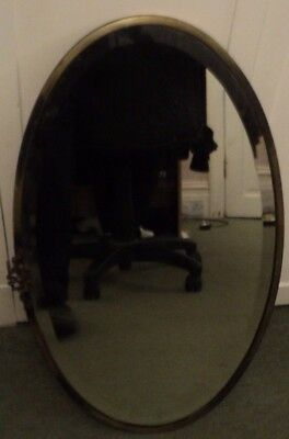 A Very Nice Antique Oval Mirror With A Lovely,bronze Or Brass Heavy Metal Frame.