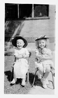 Vintage Old 1940's Photo Cute Siblings Little Boy & Girl Holding DOLLS big Hats