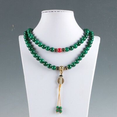 Chinese Natural Jade Hand-carved Jade & Beeswax Decoration necklace LXL027