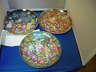 Lot Of Three Franklin Mint Heirloom Recommendation Holiday Collector Plates