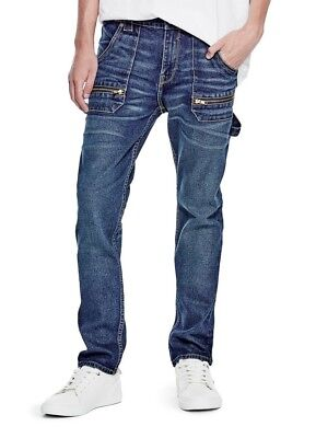 Guess NEW Vintage Blue Mens Size 34 Low Rise Slim-Fit Tapered Leg Jeans $138 349