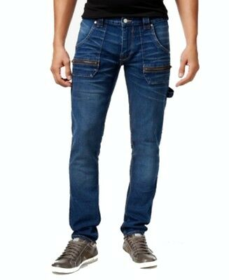 Guess NEW Vintage Blue Mens Size 38 Slim Fit Low Rise Tapered Leg Jeans $138 350