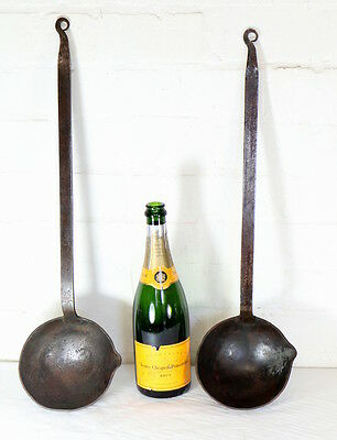 Pair of Large Antique Wrought Iron Blacksmith Made Ladles Pub Restaurant Display