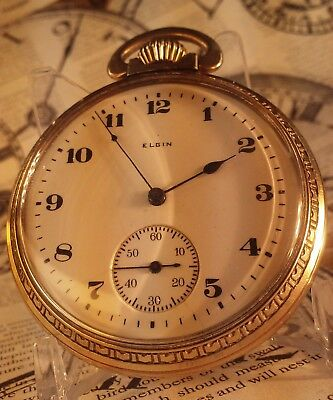 ~VERY NICE GOLD MENS 16 SIZE ELGIN POCKET WATCH~Keeping Time Christmas Gift!