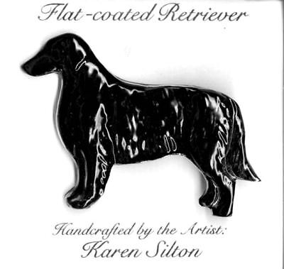New SIGNED UNUSUAL Flat Coated Retriever Pin Handcrafted by Karen Silton Dog
