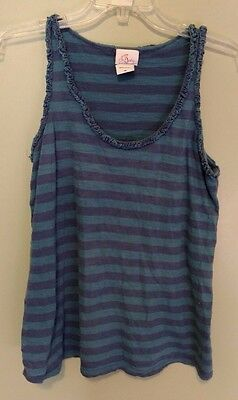 OH BABY Motherhood Blue Striped Maternity Tank Top Shirt - sz M Med