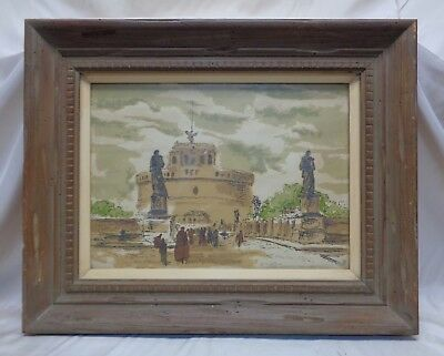 Old Decorative Architectural Cityscape Etching in Vintage Wooden Decor Frame