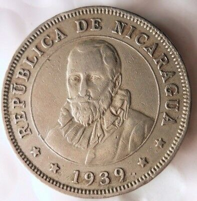1939 NICARAGUA 50 CENTAVOS - RARE Low Mintage Scarce Coin - Lot #N17