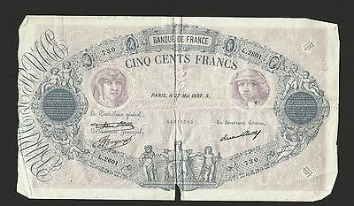 France 1937 ~ 500 Francs Currency Note ~   Banque De France