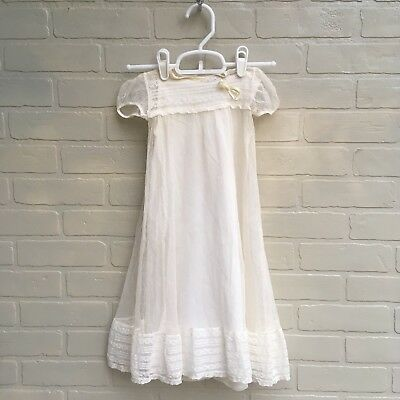 Vintage Infant Baptism Christening Gown Dress Lace Booties