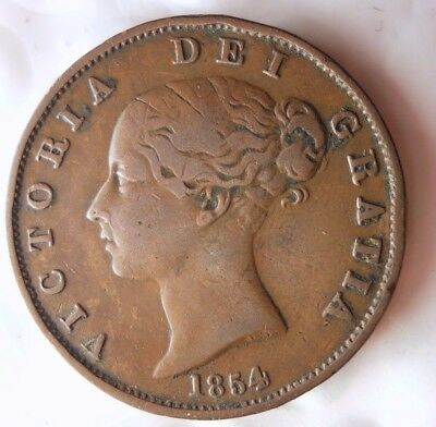 1854 GREAT BRITAIN 1/2 PENNY - VERY HIGH QUALITY - Hard to Find Coin - Lot #N17