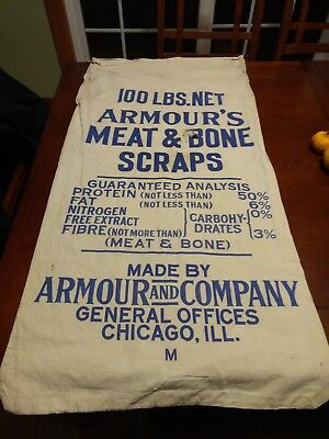 Vintage Meat & Bone Scrap Agriculture cloth bag Armour's Chicago Illinois feed