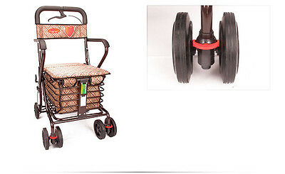 Dark Brown 6 Wheels Convenient Foldable Shopping Luggage Trolleys With Seat *#