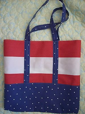 """Canvas tote , in Red White and Blue,Heavy Canvas, 16"""" high,19"""" wide,handles 11"""""""