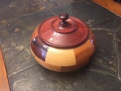 Hand Made Wooden Bowl Mint Condition Rare with Lid
