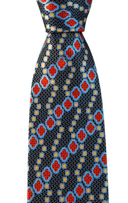 "New BRIONI Italy Black Red Geometric 3.25"" 100% Silk Handmade Neck Tie NWT"