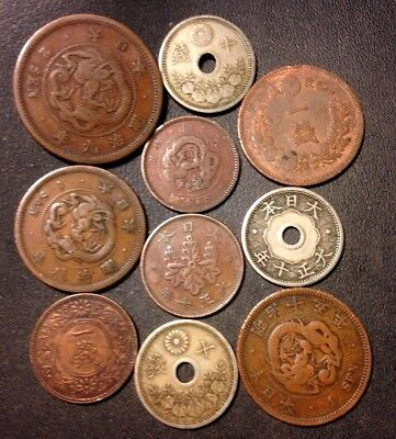 Vintage Japan Coin Lot  - 1876-1922-  10 Collectible Imperial Coins - Lot #N17
