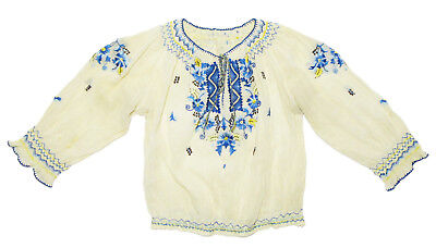 VINTAGE hand-embroidered peasant blouse ethnic Poland blue flowers folk Hungary