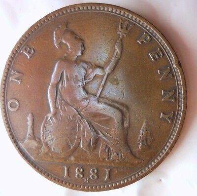 1881 H GREAT BRITAIN PENNY - HIGH GRADE  - Strong Value - Great Coin - Lot #N17