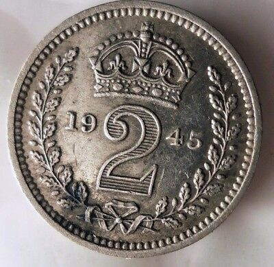 1945 GREAT BRITAIN 2 PENCE - AU - Massive Value Rare Silver Coin - Lot #N17