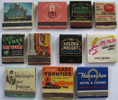 LOT OF 11 Vintage LAS VEGAS & RENO CASINO HOTEL MATCHBOOKS - OVERLAND,HORSESHOE