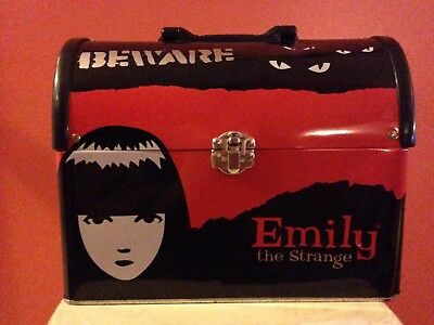 2001 Rare Emily The Strange Tin Lunch Box Slightly Used in Good Shape