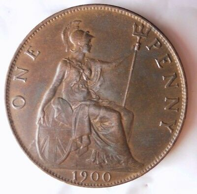1900 GREAT BRITAIN PENNY - HIGH GRADE AU with RED Hints - Great Coin - Lot #N17
