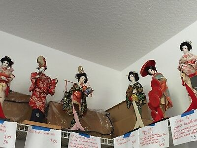 Lot Of 7 Vintage Japanese Geisha Dolls On Stands Nice Assortment Reduced Price
