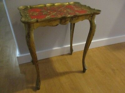 Vntg Florentine Gold & Red Top Side Table, Hollywood Regency, Italy