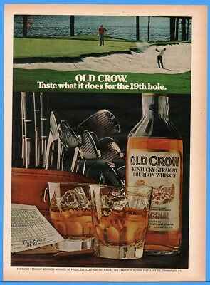 1973 Old Crow Bourbon Whiskey Taste What it Does for the 19th Hole golf photo ad