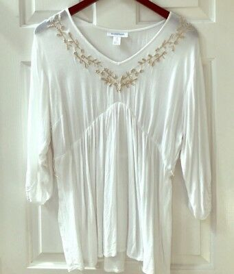White Motherhood Maternity Blouse Top Peasant Style Embroidered Small Boho