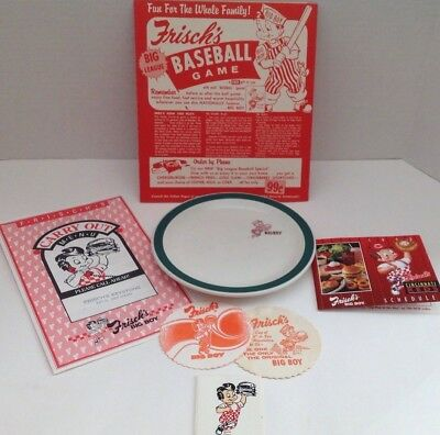 Frisch's Big Boy China Dessert Plate with Green band, Menu, Coasters, Game, More