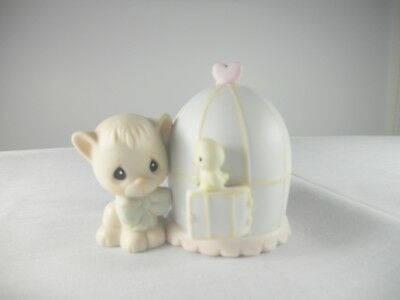 Precious Moments 524492 CAN'T BE WITHOUT YOU Figurine 1990 Cat Bird Cage