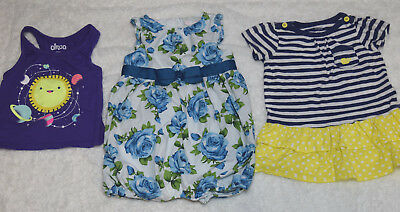 Baby Girl 12 Months Blue Roses Outfit, Dress & Top Circo a/o  Very Cute! B8