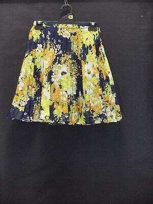 1960's/70's Vintage Sunray Pleat Mini Skirt in Abstract Floral